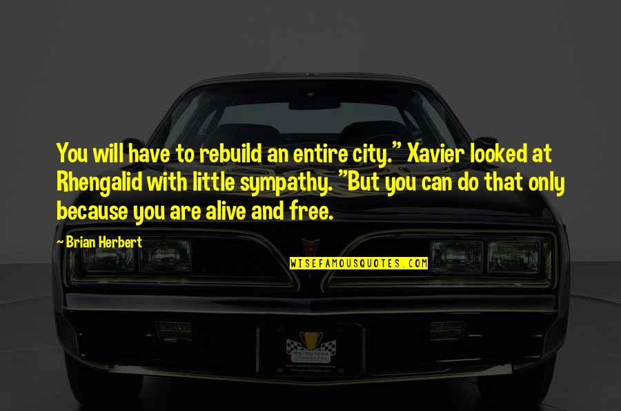 """Alive And Free Quotes By Brian Herbert: You will have to rebuild an entire city."""""""
