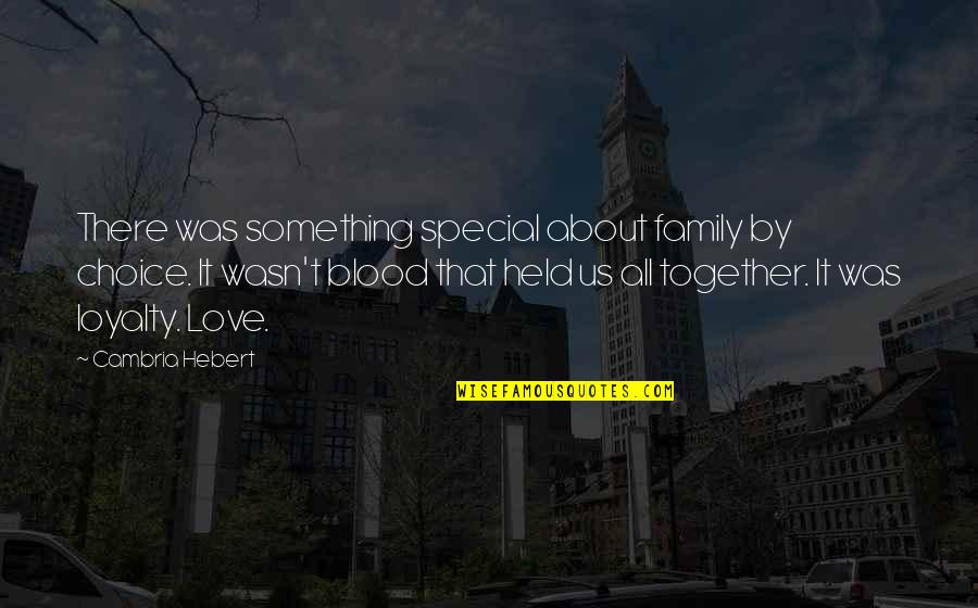 All About Us Love Quotes By Cambria Hebert: There was something special about family by choice.