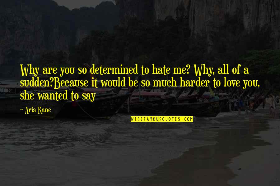 All Because Of You Love Quotes By Aria Kane: Why are you so determined to hate me?