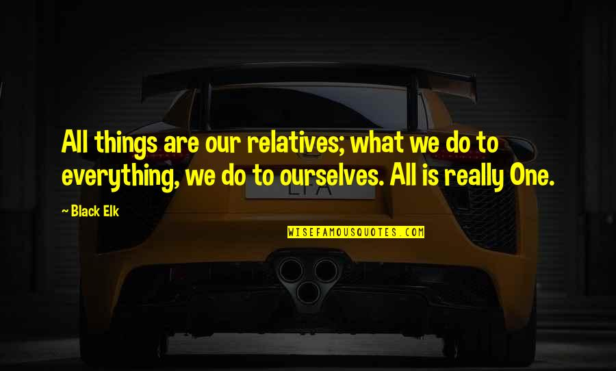 All Black Everything Quotes By Black Elk: All things are our relatives; what we do