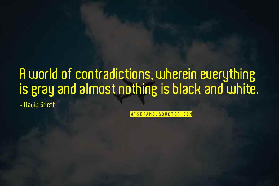 All Black Everything Quotes By David Sheff: A world of contradictions, wherein everything is gray