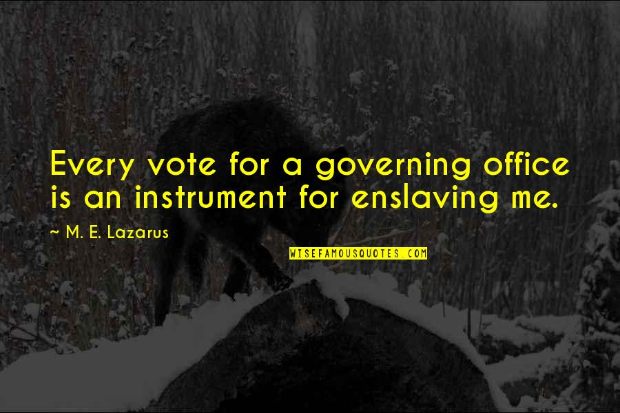 All Claptrap Quotes By M. E. Lazarus: Every vote for a governing office is an