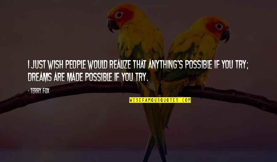 All Dreams Are Possible Quotes By Terry Fox: I just wish people would realize that anything's