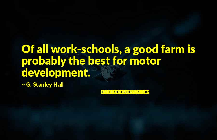 All For Good Quotes By G. Stanley Hall: Of all work-schools, a good farm is probably