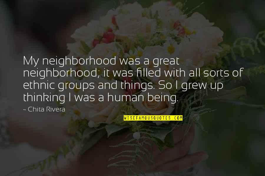 All Great Things Quotes By Chita Rivera: My neighborhood was a great neighborhood; it was