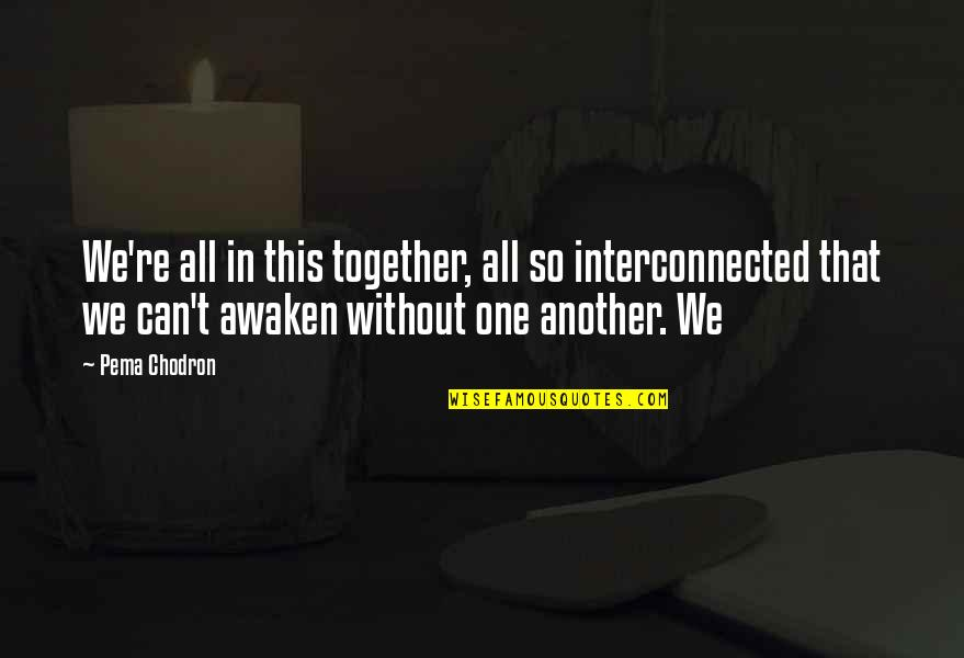 All In This Together Quotes By Pema Chodron: We're all in this together, all so interconnected