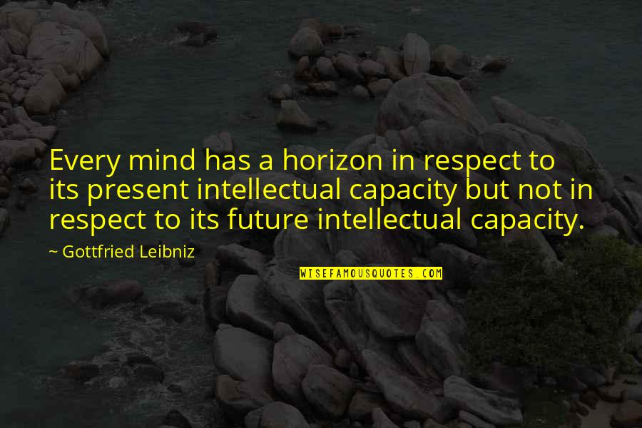 All My Respect To You Quotes By Gottfried Leibniz: Every mind has a horizon in respect to