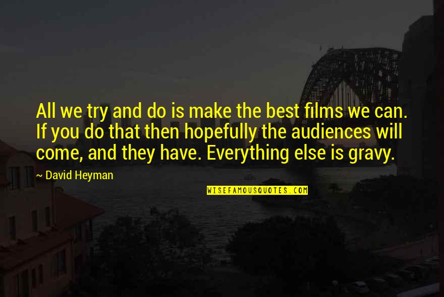 All The Best Quotes By David Heyman: All we try and do is make the