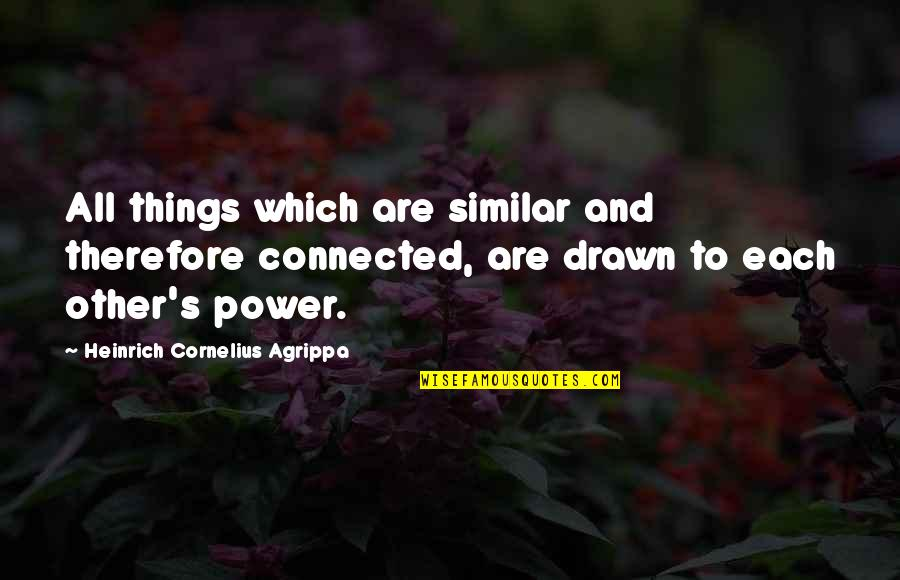 All Things Connected Quotes By Heinrich Cornelius Agrippa: All things which are similar and therefore connected,