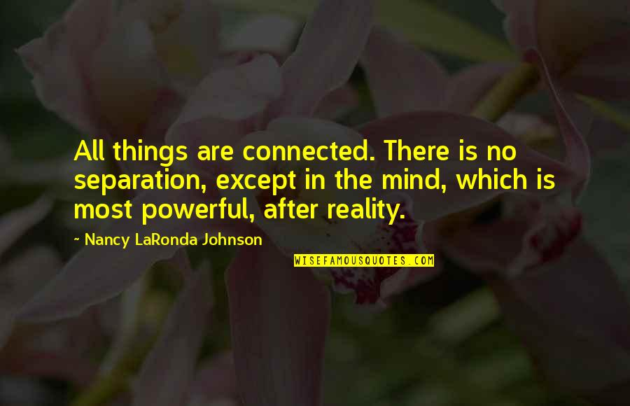 All Things Connected Quotes By Nancy LaRonda Johnson: All things are connected. There is no separation,
