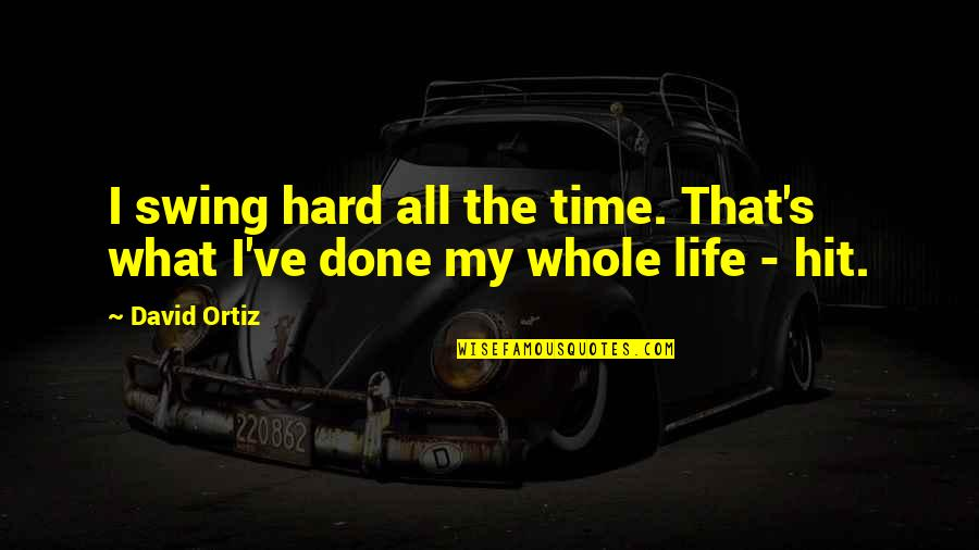 All Time Hit Quotes By David Ortiz: I swing hard all the time. That's what