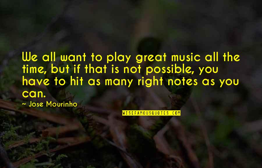 All Time Hit Quotes By Jose Mourinho: We all want to play great music all