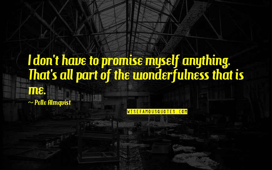 All To Myself Quotes By Pelle Almqvist: I don't have to promise myself anything. That's