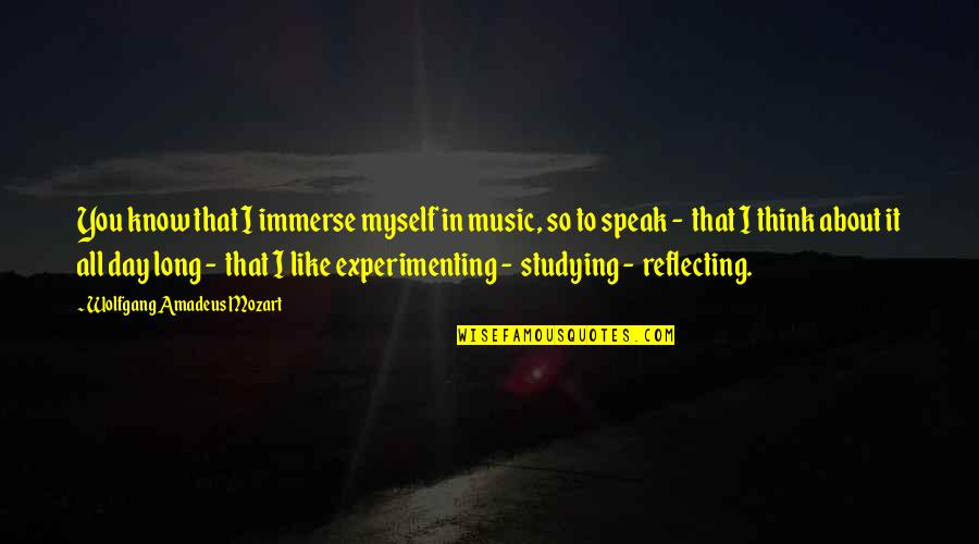 All To Myself Quotes By Wolfgang Amadeus Mozart: You know that I immerse myself in music,