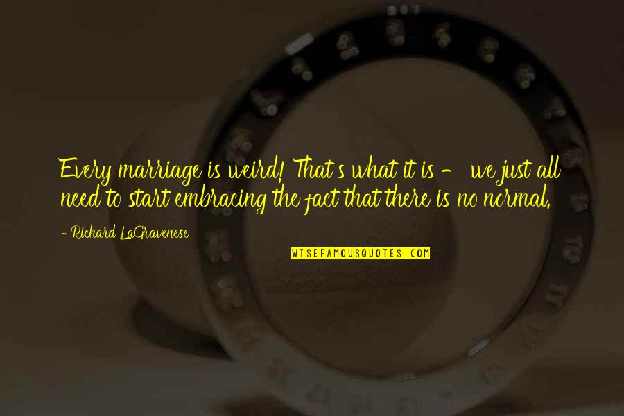 All We Need Quotes By Richard LaGravenese: Every marriage is weird! That's what it is