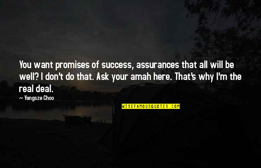 All Well Quotes By Yangsze Choo: You want promises of success, assurances that all