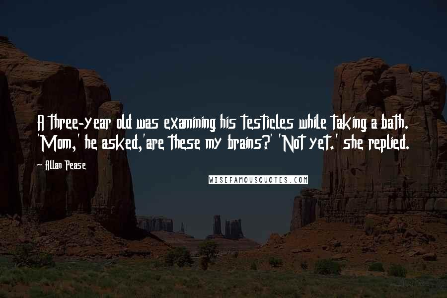 Allan Pease quotes: A three-year old was examining his testicles while taking a bath. 'Mom,' he asked,'are these my brains?' 'Not yet.' she replied.
