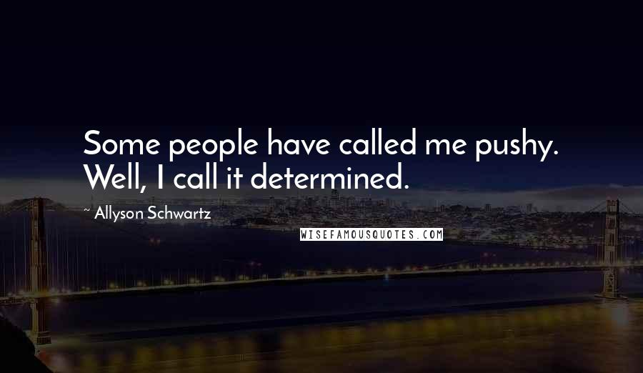 Allyson Schwartz quotes: Some people have called me pushy. Well, I call it determined.