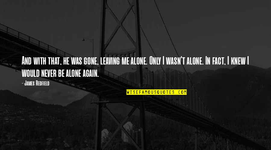 Alone Again Quotes By James Redfield: And with that, he was gone, leaving me