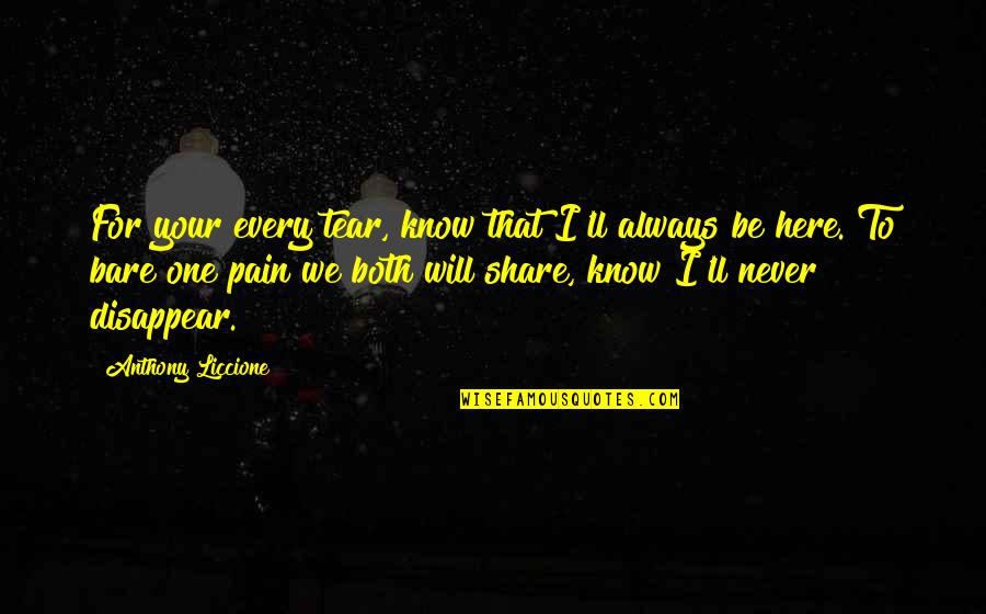 Always Here Quotes By Anthony Liccione: For your every tear, know that I'll always