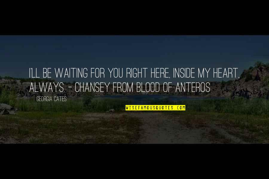 Always Here Quotes By Georgia Cates: I'll be waiting for you right here, inside
