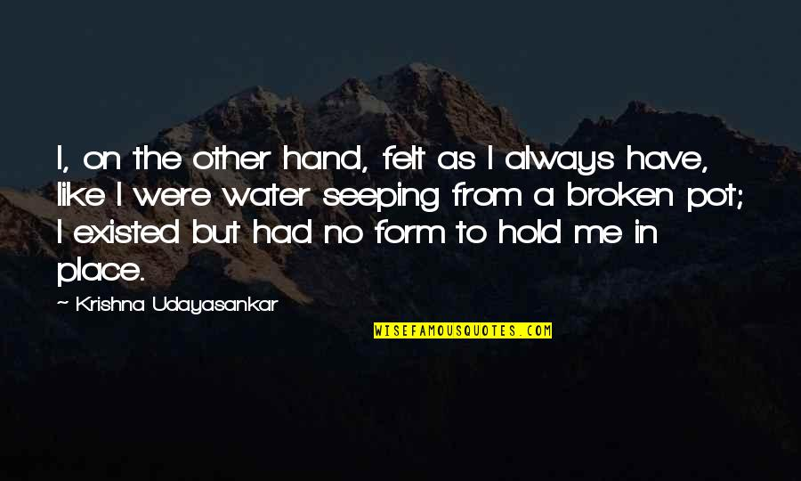Always Hold My Hand Quotes By Krishna Udayasankar: I, on the other hand, felt as I