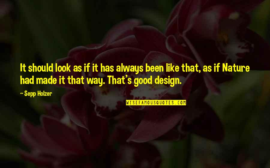 Always Look For The Good Quotes By Sepp Holzer: It should look as if it has always