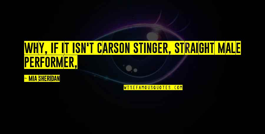 Always Making Mistakes Quotes By Mia Sheridan: Why, if it isn't Carson Stinger, Straight Male
