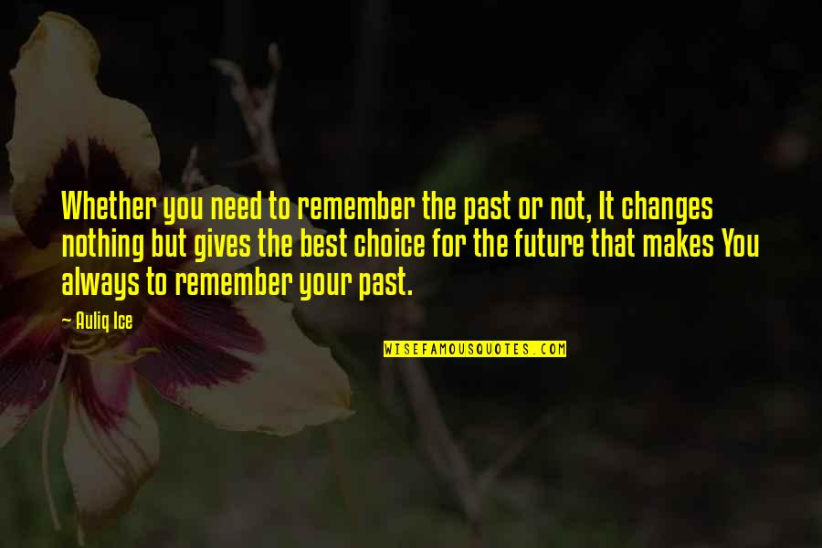 Always Remember The Past Quotes By Auliq Ice: Whether you need to remember the past or