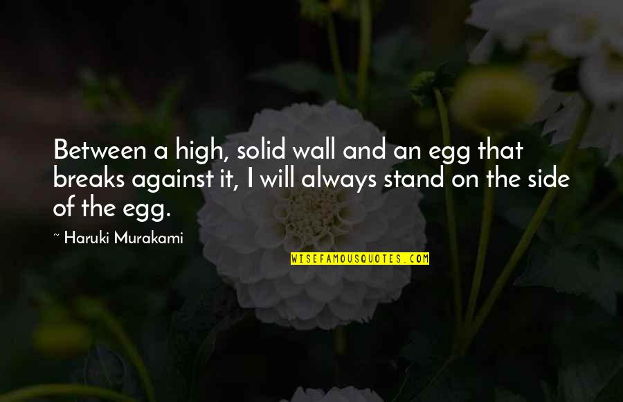 Always Stand Out Quotes By Haruki Murakami: Between a high, solid wall and an egg