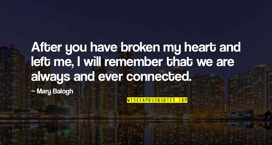 Always You And Me Quotes By Mary Balogh: After you have broken my heart and left