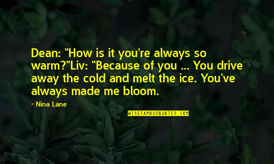 "Always You And Me Quotes By Nina Lane: Dean: ""How is it you're always so warm?""Liv:"
