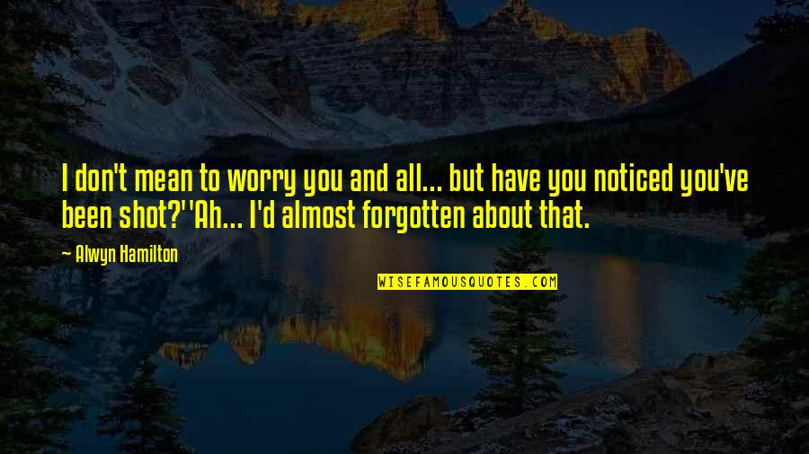 Alwyn Quotes By Alwyn Hamilton: I don't mean to worry you and all...