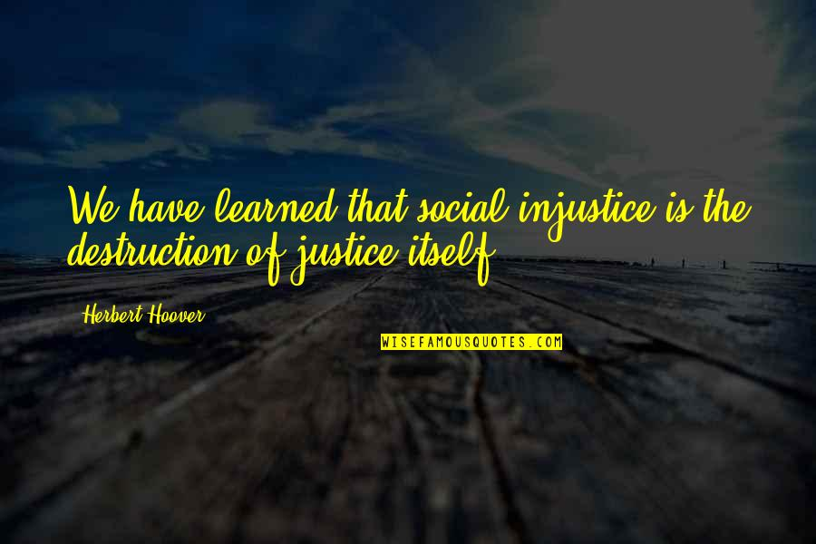 Alyson Noel Everlasting Quotes By Herbert Hoover: We have learned that social injustice is the
