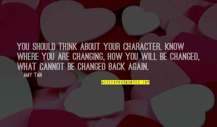 Am Back Again Quotes By Amy Tan: You should think about your character. Know where