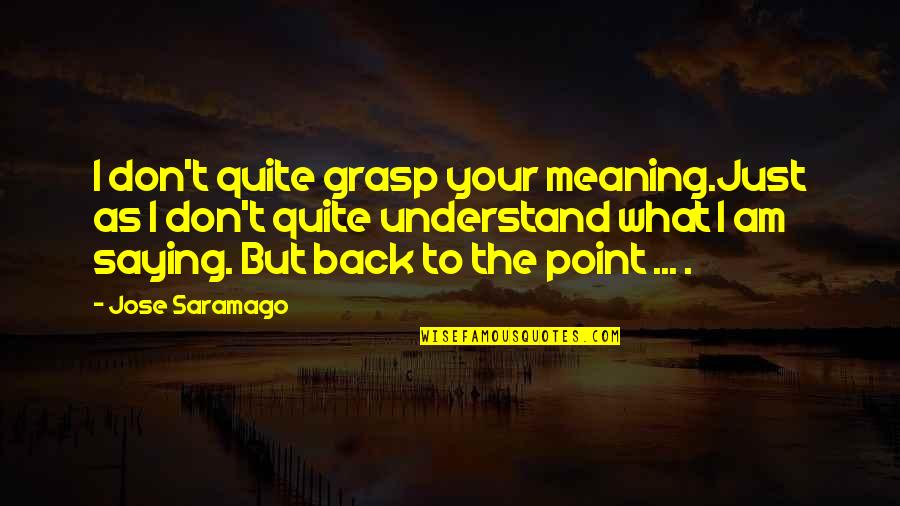 Am Just Saying Quotes By Jose Saramago: I don't quite grasp your meaning.Just as I