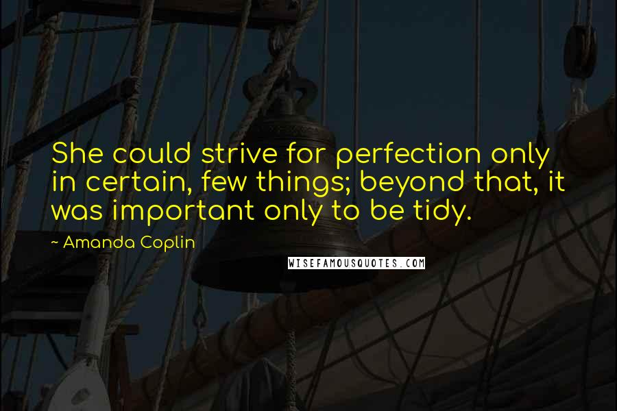 Amanda Coplin quotes: She could strive for perfection only in certain, few things; beyond that, it was important only to be tidy.