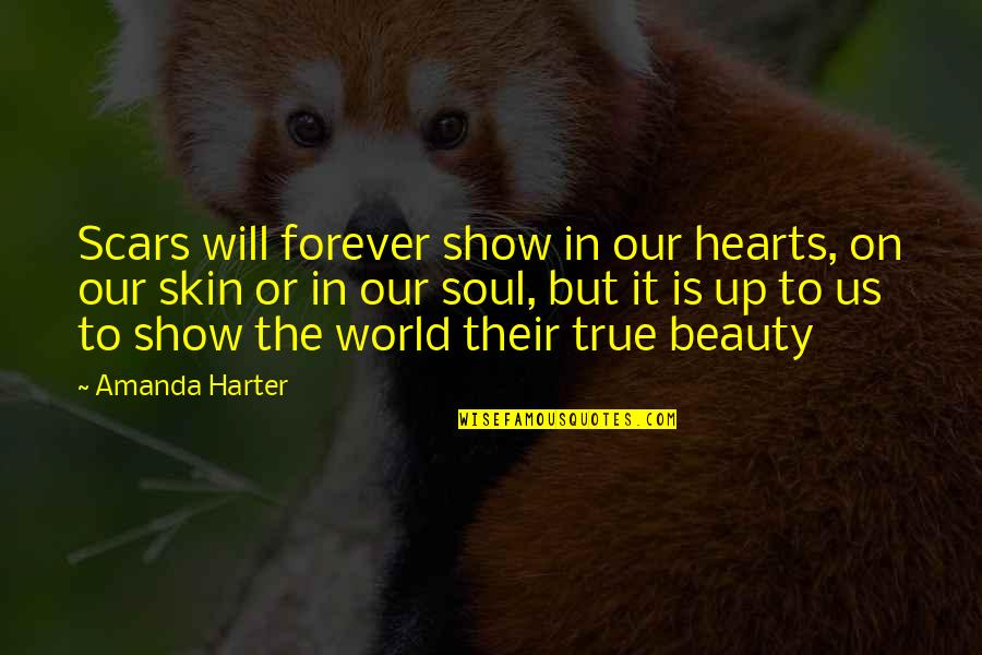 Amanda Show Quotes By Amanda Harter: Scars will forever show in our hearts, on