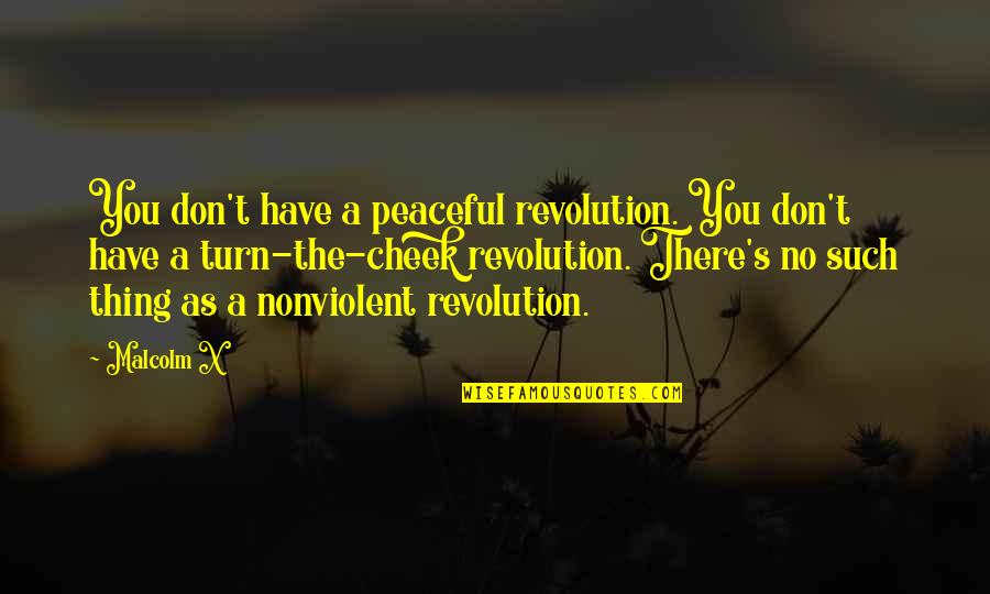 Amazonia Quotes By Malcolm X: You don't have a peaceful revolution. You don't