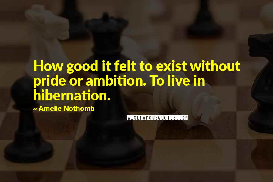 Amelie Nothomb quotes: How good it felt to exist without pride or ambition. To live in hibernation.