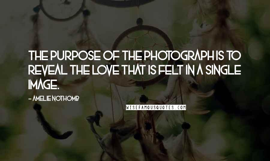 Amelie Nothomb quotes: The purpose of the photograph is to reveal the love that is felt in a single image.