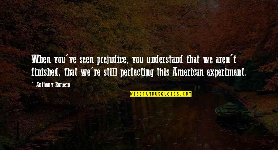 American Immigration Quotes By Anthony Romero: When you've seen prejudice, you understand that we