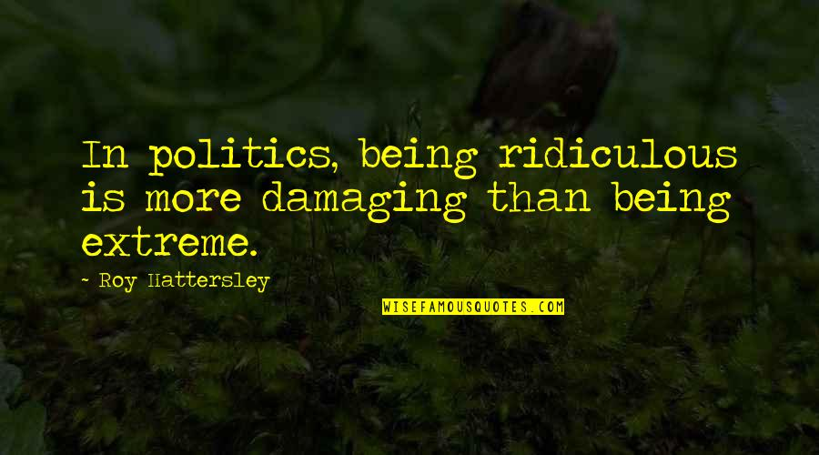 Amsterdam Funny Quotes By Roy Hattersley: In politics, being ridiculous is more damaging than