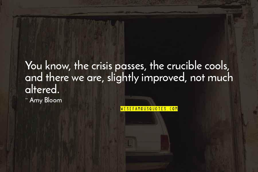 Amy Bloom Quotes By Amy Bloom: You know, the crisis passes, the crucible cools,