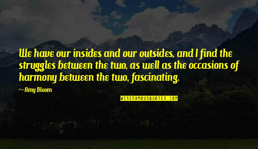 Amy Bloom Quotes By Amy Bloom: We have our insides and our outsides, and
