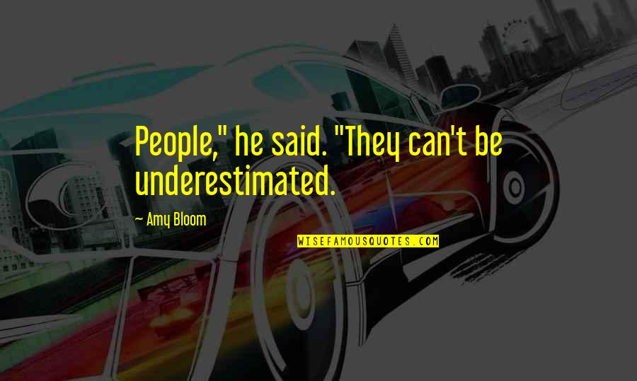 "Amy Bloom Quotes By Amy Bloom: People,"" he said. ""They can't be underestimated."
