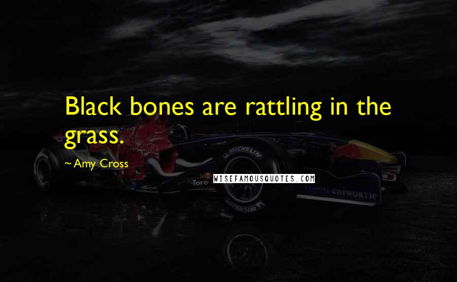 Amy Cross quotes: Black bones are rattling in the grass.