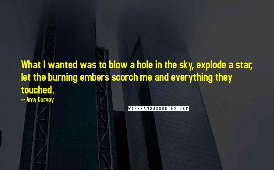 Amy Garvey quotes: What I wanted was to blow a hole in the sky, explode a star, let the burning embers scorch me and everything they touched.