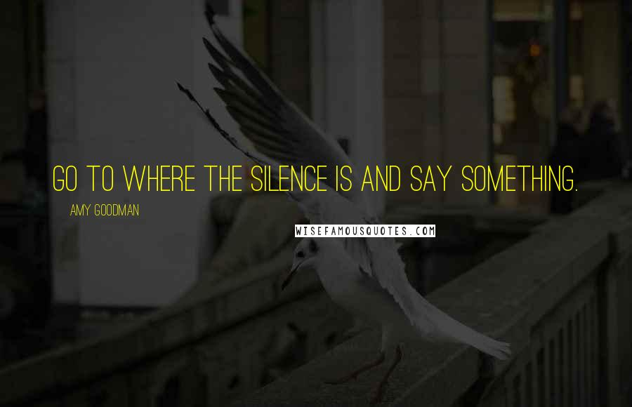 Amy Goodman quotes: Go to where the silence is and say something.