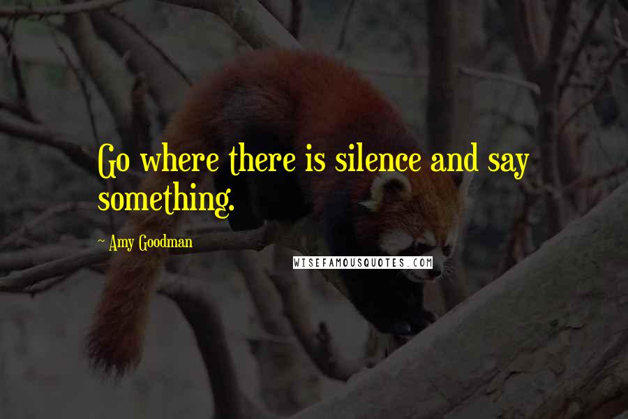 Amy Goodman quotes: Go where there is silence and say something.